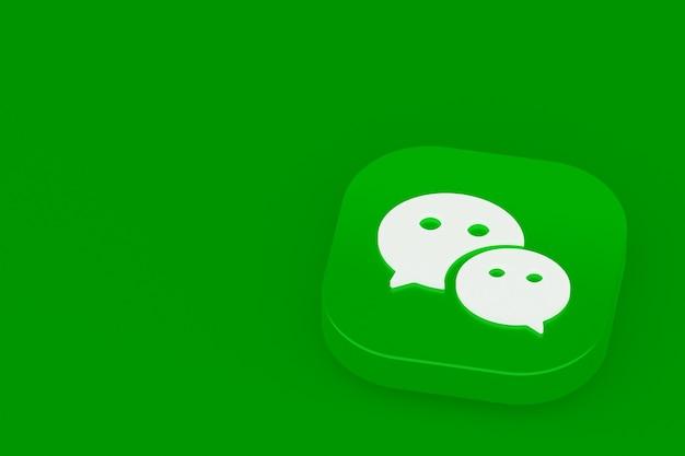Логотип приложения wechat 3d-рендеринг на зеленом фоне