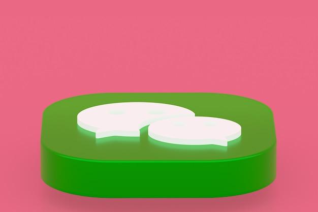 3d-рендеринг логотипа приложения wechat на розовом фоне