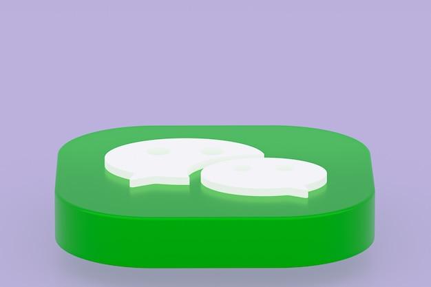3d-рендеринг логотипа приложения wechat на фиолетовом фоне