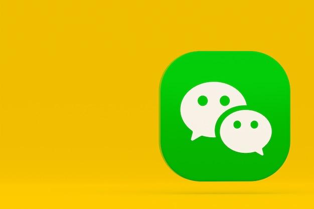 黄色の背景にwechatアプリケーションのロゴの3dレンダリング