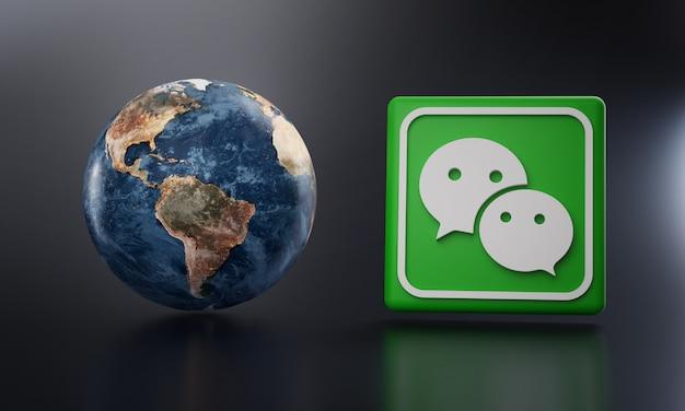 Wechat logo beside earth 3d rendering.