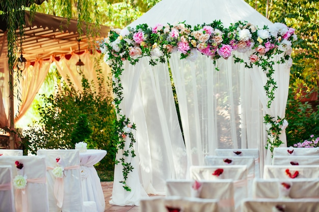 Wedding arch. beautiful wedding ceremony.