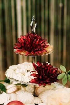 Свадебные арки украшены тканью и цветами на открытом воздухе. красивая свадьба настроена. свадебная церемония на зеленой лужайке в саду.