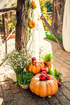 Wedding arch for off-site wedding ceremony, decorated in autumn theme with pumpkins.