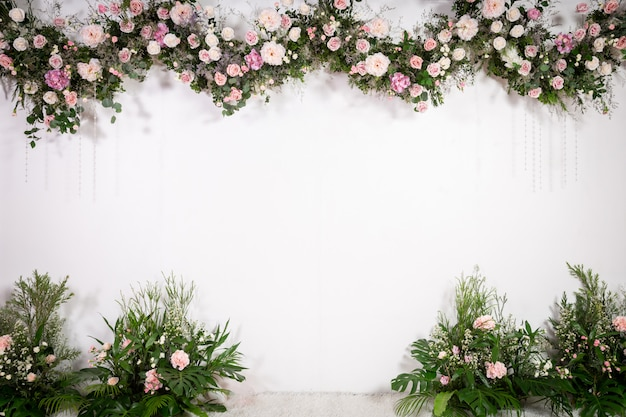 Wedding backdrop with flower and decoration