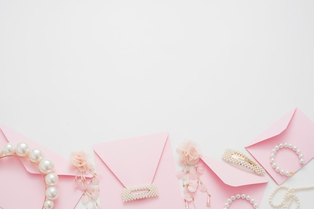 The wedding background decorated with invitation envelopes, with copy space.