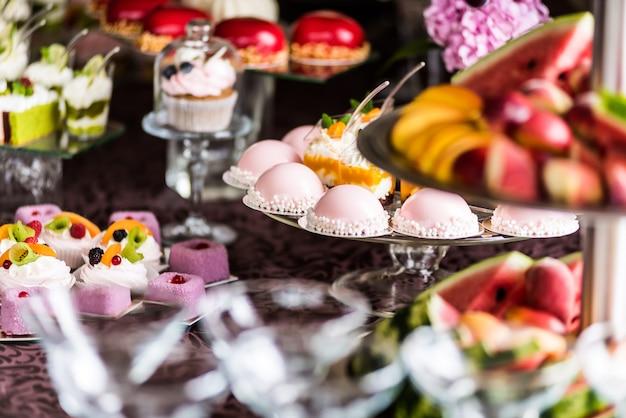 Wedding or birthday tasty decorations. candy bar. sweet table