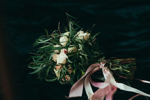 Wedding bouquet on bedroom
