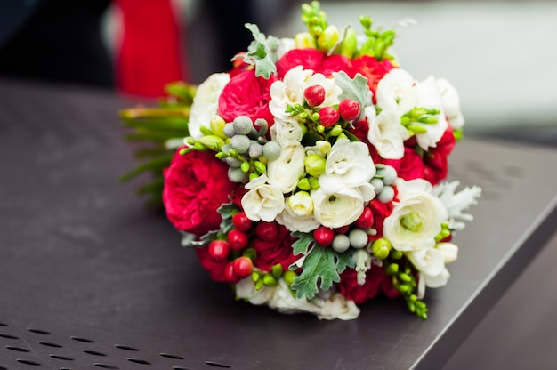 Wedding bouquet before ceremony in church