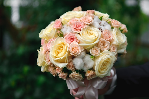 Wedding bouquet, bouqet of beautiful flowers on wed day