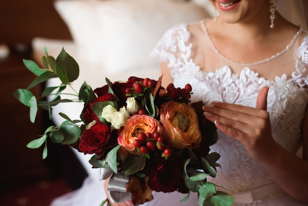 Wedding bouquet, bouqet of beautiful flowers on a wedding day