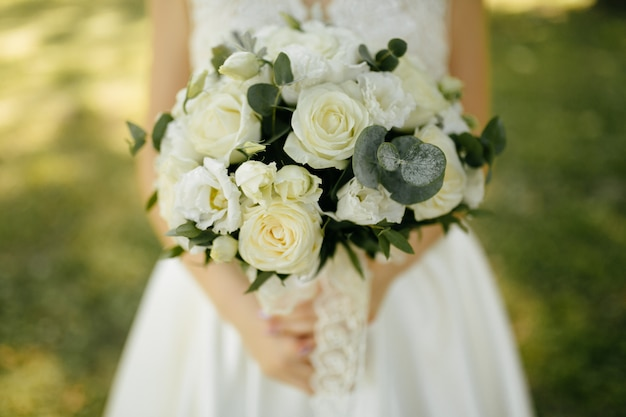 Wedding bouquet in bride's hands