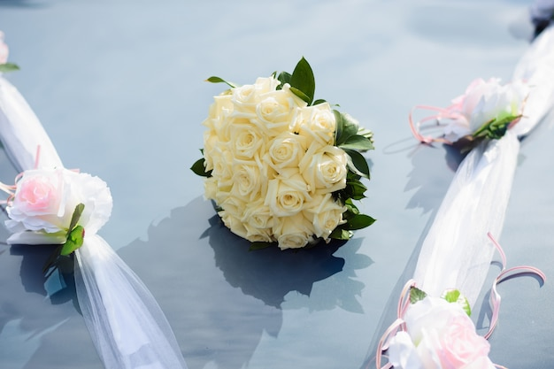 Wedding bouquet of fresh blooming flowers