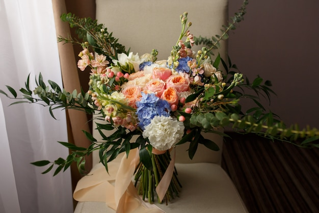 Wedding bouquet of fresh flowers for bride.