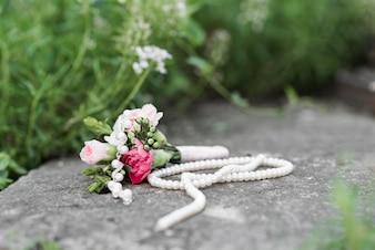 Wedding bouquet on rocks