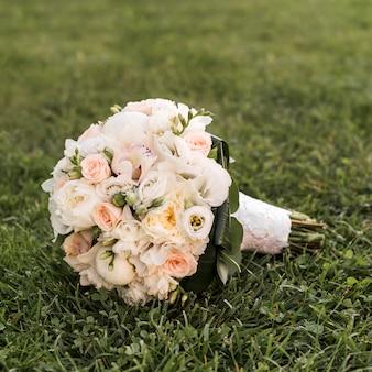 Wedding bouquet on the grass