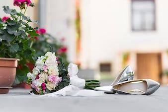 Wedding bouquet on the street