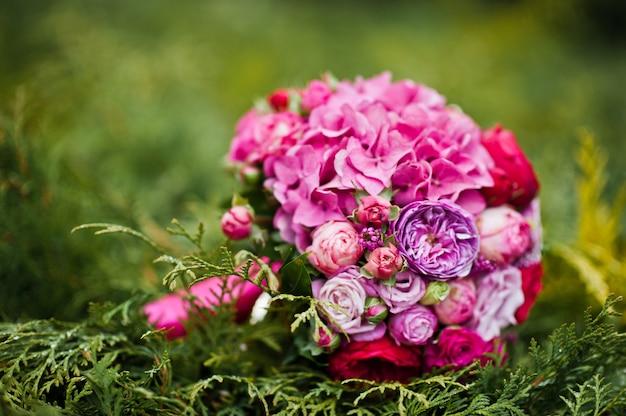 Wedding bouquet of rose and peony david austin