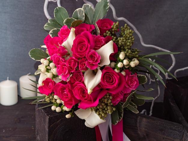 Wedding bouquet of yak crimson roses