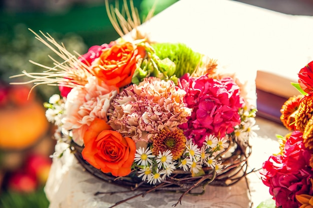 Wedding bride's bouquet in the autumn theme.