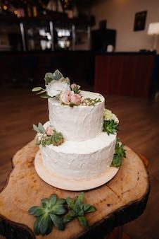 Wedding cake at a banquet close-up. dessert.
