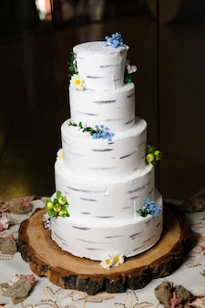 Wedding cake, delicious sweet holiday buffet with desserts.