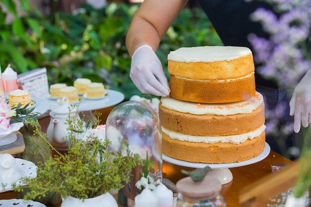 Wedding cake, focus on hands