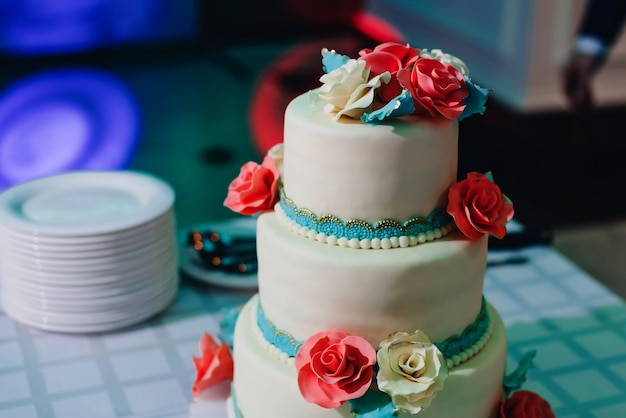 Wedding cake in white and blue glaze