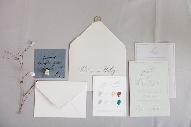 Wedding calligraphy envelope and a letter with inscriptions in russian. translation: