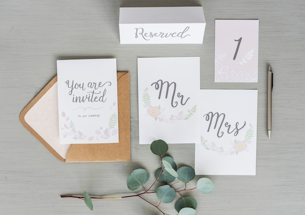 Wedding card invitation on gray background