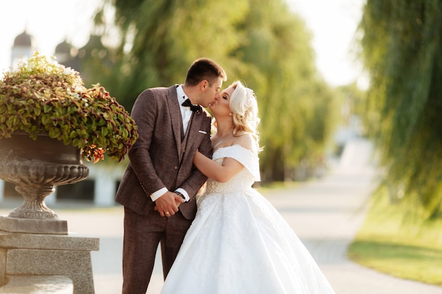 Wedding in the castle. stylish and beautiful. princess's dress. lush white dress and veil. bride is a brunette. the groom in a black suit. a couple is walking in the park on the castle grounds.