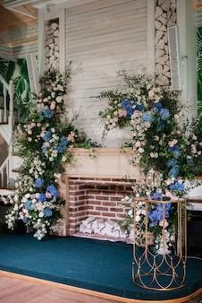 Wedding ceremony area with dried flowers