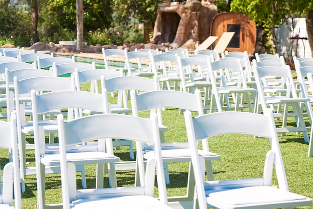Wedding ceremony chairs outdoors