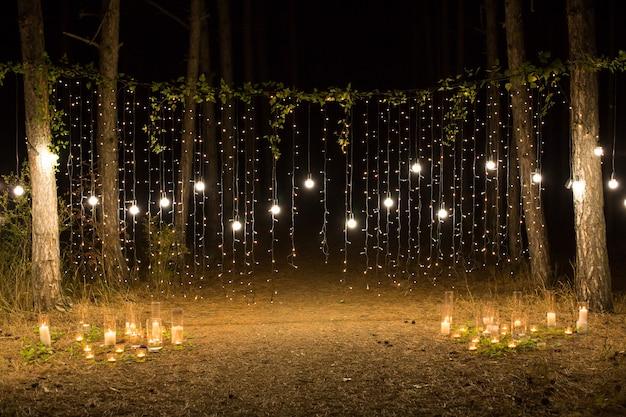 Вечер свадебной церемонии при свечах и лампах в хвойном сосновом лесу