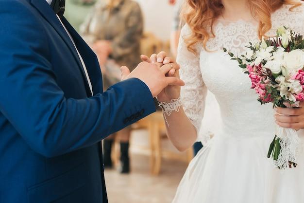 Wedding ceremony of exchange of rings between the bride and groom