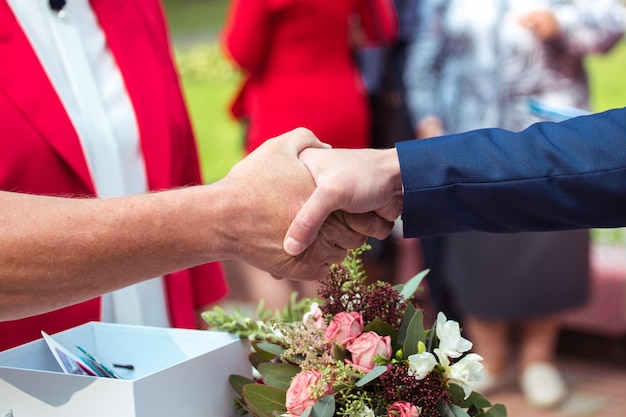 Wedding ceremony. wedding congratulation shaking hands