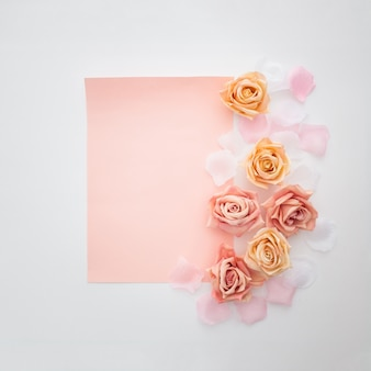 Wedding composition with a empty paper