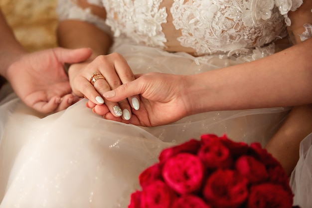 Wedding concept. bridesmaids holding bride's hand with wedding ring.