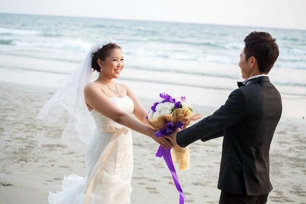 Wedding couple at beach