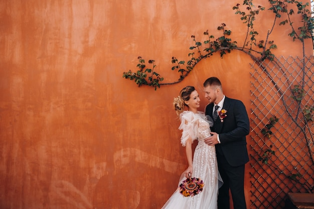 Wedding couple near a villa in france.wedding in provence.wedding photo shoot in france.