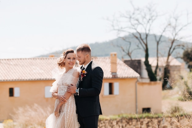 Wedding couple near a villa in france.wedding in provence.wedding photo shoot in france.