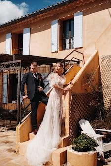Wedding couple near a villa in france.wedding in provence