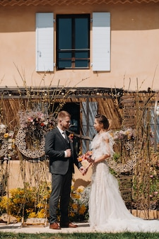 Wedding couple near a villa in france.wedding in provence.