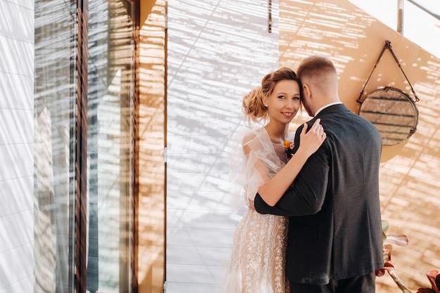 Wedding couple near a villa in france