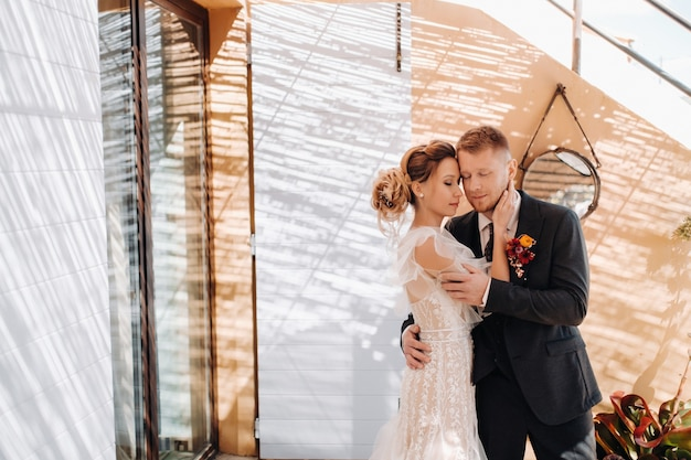 Wedding couple near a villa in france.