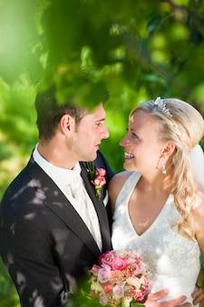 Wedding couple in romantic setting