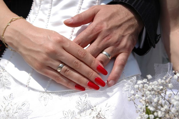 Wedding couple showing their wedding rings