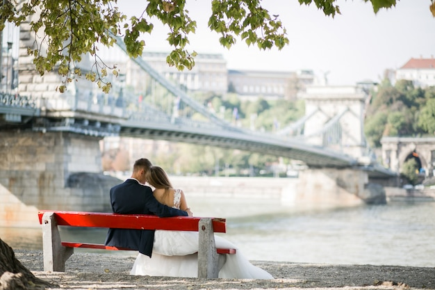 Wedding couple on their wedding day in budapest