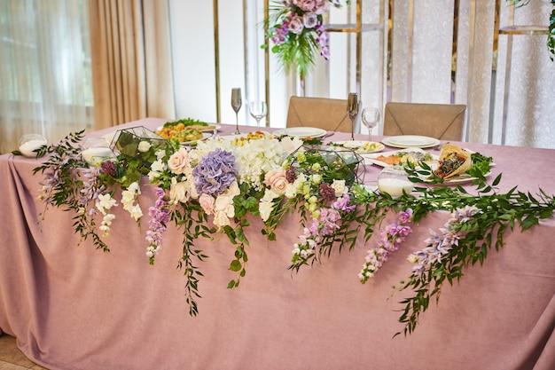 Wedding decor of a banquet hall in a restaurant