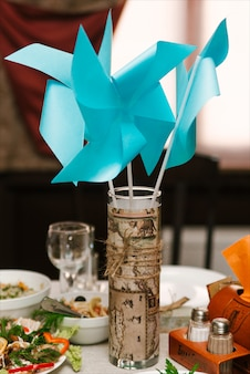 Wedding decor of the presidium of the bride and groom table. travel style wedding, selective focus